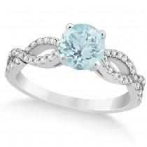 Diamond & Aquamarine Twist Infinity Engagement Ring 14k White Gold (1.40ct)