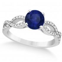 Diamond & Blue Sapphire Twist Infinity Engagement Ring 14k White Gold (1.40ct)