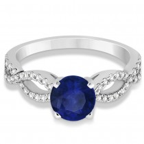 Diamond & Blue Sapphire Twist Infinity Engagement Ring 14k White Gold (1.40ct)