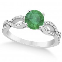Diamond & Emerald Twist Infinity Engagement Ring 14k White Gold (1.40ct)