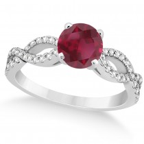 Diamond & Ruby Twist Infinity Engagement Ring 14k White Gold (1.40ct)