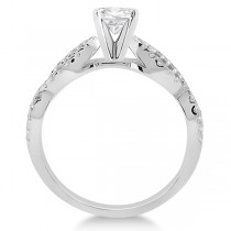 Infinity Twist Diamond Ring with Band Setting 14K White Gold (0.60ct)