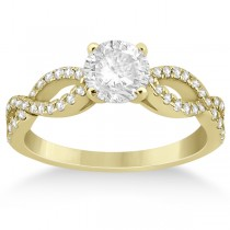 Infinity Twist Diamond Ring with Band Setting 14K Yellow Gold (0.60ct)