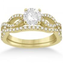 Infinity Twist Diamond Ring with Band Setting 18k Yellow Gold (0.60ct)