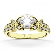Butterfly Milgrain Diamond Engagement Ring 14K Yellow Gold (0.25ct)