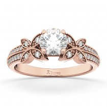 Butterfly Milgrain Diamond Engagement Ring 18k Rose Gold (0.25ct)