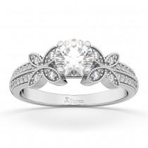 Butterfly Milgrain Diamond Engagement Ring 18k White Gold (0.25ct)