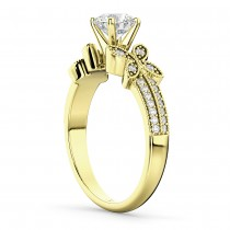 Butterfly Milgrain Diamond Engagement Ring 18k Yellow Gold (0.25ct)