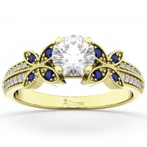 Diamond & Blue Sapphire Butterfly Engagement Ring 14K Yellow Gold