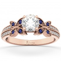 Diamond & Blue Sapphire Butterfly Engagement Ring 18K Rose Gold