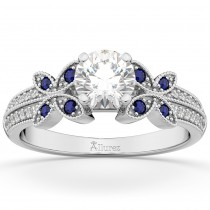 Diamond & Blue Sapphire Butterfly Engagement Ring 18K White Gold