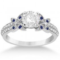 Diamond & Blue Sapphire Butterfly Engagement Ring Setting Palladium