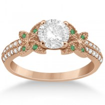 Diamond & Green Emerald Butterfly Engagement Ring 18K Rose Gold