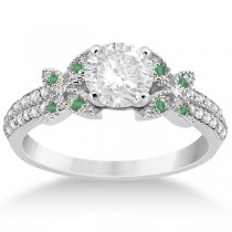 Diamond & Green Emerald Butterfly Engagement Ring 18K White Gold