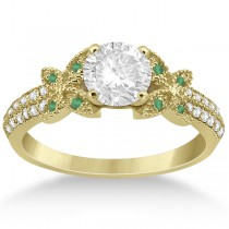 Diamond & Green Emerald Butterfly Engagement Ring 18K Yellow Gold