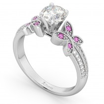 Diamond & Pink Sapphire Butterfly Engagement Ring 14K White Gold