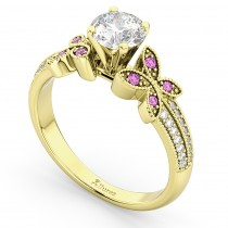 Diamond & Pink Sapphire Butterfly Engagement Ring 14K Yellow Gold