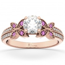 Diamond & Pink Sapphire Butterfly Engagement Ring 18K Rose Gold