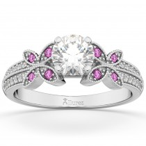 Diamond & Pink Sapphire Butterfly Engagement Ring 18K White Gold