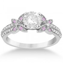 Diamond & Pink Sapphire Butterfly Engagement Ring Setting Platinum