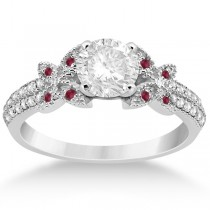 Diamond & Ruby Butterfly Engagement Ring Setting  Palladium