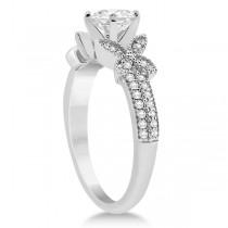 Butterfly Milgrain Diamond Ring & Wedding Band 14K White Gold (0.40ct)