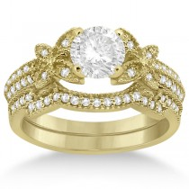 Butterfly Milgrain Diamond Ring & Wedding Band 14K Yellow Gold (0.40ct)