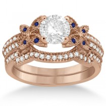 Butterfly Diamond & Blue Sapphire Bridal Set 14K Rose Gold (0.39ct)