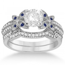 Butterfly Diamond & Blue Sapphire Bridal Set 18k White Gold (0.39ct)