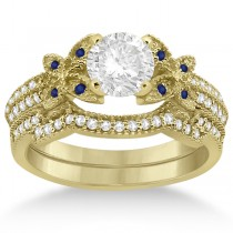Butterfly Diamond & Blue Sapphire Bridal Set 18k Yellow Gold (0.39ct)