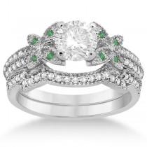 Butterfly Diamond & Emerald Bridal Set 14K White Gold (0.39ct)