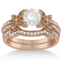 Butterfly Diamond & Emerald Bridal Set 18k Rose Gold (0.39ct)