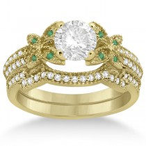 Butterfly Diamond & Emerald Bridal Set 18k Yellow Gold (0.39ct)