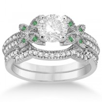 Butterfly Diamond & Emerald Bridal Set Palladium (0.39ct)