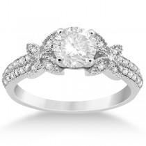 Butterfly Milgrain Diamond Ring & Wedding Band Palladium (0.40ct)