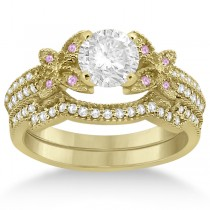 Butterfly Diamond & Pink Sapphire Bridal Set 14K Yellow Gold (0.39ct)
