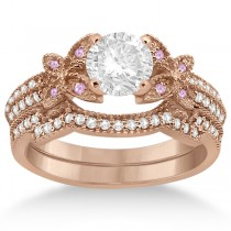 Butterfly Diamond & Pink Sapphire Bridal Set 18k Rose Gold (0.39ct)