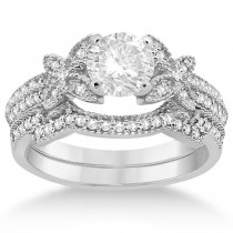 Butterfly Milgrain Diamond Ring & Wedding Band Platinum (0.40ct)
