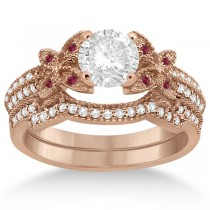 Butterfly Diamond & Ruby Bridal Set 14K Rose Gold (0.39ct)