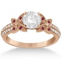 Butterfly Diamond & Ruby Bridal Set 14K Rose Gold (0.39ct)