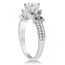 Butterfly Diamond & Ruby Bridal Set 14K White Gold (0.39ct)