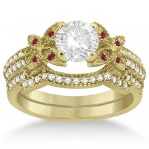 Butterfly Diamond & Ruby Bridal Set 14K Yellow Gold (0.39ct)