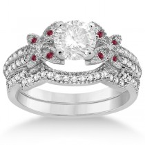 Butterfly Diamond & Ruby Bridal Set 18k White Gold (0.39ct)
