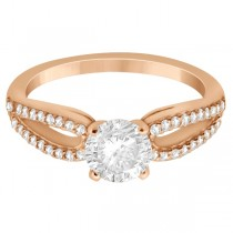 Cathedral Split Shank Diamond Engagement Ring 14K Rose Gold (0.23ct)