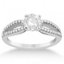 Cathedral Split Shank Diamond Engagement Ring 18K White Gold (0.23ct)