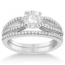 Cathedral Split Shank Diamond Ring & Band Set 18K White Gold (0.35ct)