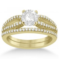 Cathedral Split Shank Diamond Ring & Band Set 18K Yellow Gold (0.35ct)