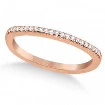 Micro Pave Semi-Eternity Diamond Wedding Band 14K Rose Gold (0.12ct)