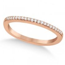 Micro Pave Semi-Eternity Diamond Wedding Band 14K Rose Gold (0.12ct)