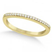 Micro Pave Semi-Eternity Diamond Wedding Band 18K Yellow Gold (0.12ct)